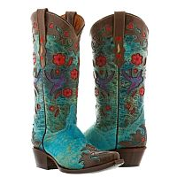 Женские ботинки Womens Brown Turquoise Robin Western Leather Rodeo Cowgirl Cowboy Boots Flowers