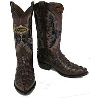Мужские сапоги Men's New Crocodile Alligator Tail Cut Leather Cowboy Western J-Toe Boots Brown