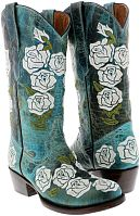 Женские ботинки Women's Black Rosal Flowers Roses Leather Cowgirl Boots Western Cowboy Rodeo New