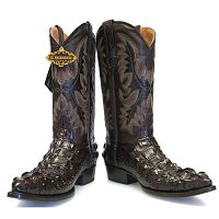 Мужские сапоги Men's Crocodile Alligator Head Design Leather Cowboy Western J Toe Boots Brown