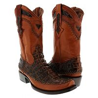 Мужские сапоги Mens brown cognac biker leather cowboy boots western rodeo square toe crocodile