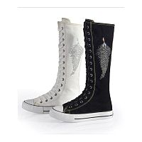 Летние женские кеды Lady Womens CanvasFlat Sneakers Lace Up Knee High Boots