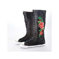 Летние женские кеды  Lady Canvas Flat Sneakers Lace Up Knee High Boots with Flower
