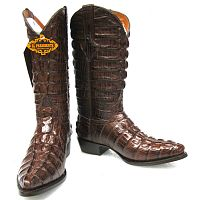Мужские сапоги Men's Crocodile Alligator Tail Full Leather Cowboy Western Boots J Toe Brown
